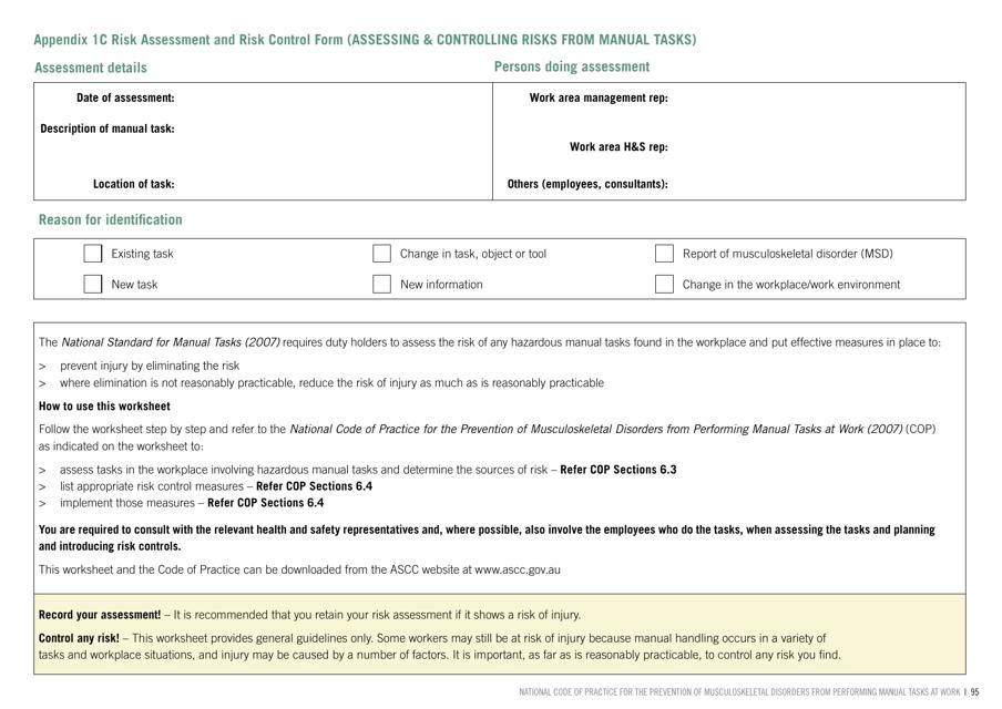 """Risk Assessment and Risk Control Form"" - Australia Download Pdf"