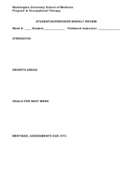 Student/Supervisor Weekly Review Form - Washington University School of Medicine