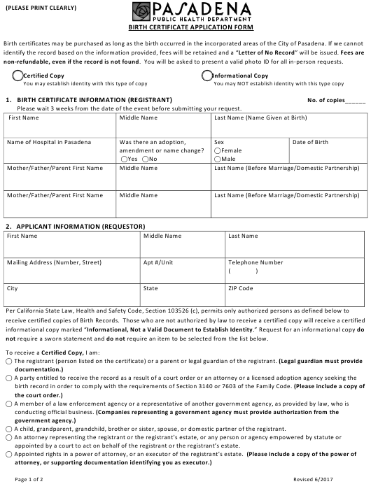 """Birth Certificate Application Form"" - City of Pasadena, California Download Pdf"