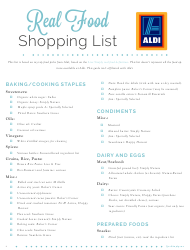Real Food Shopping List Template - Aldi
