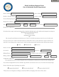 Birth Certificate Request Form - City of Ashtabula, Ohio
