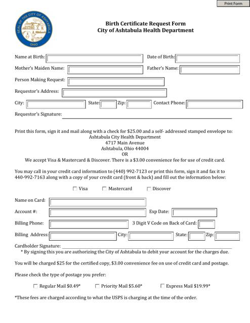 """""""Birth Certificate Request Form"""" - City of Ashtabula, Ohio Download Pdf"""