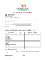 """Taxicab Vehicle Inspection Form - Navigator"" - South Carolina"