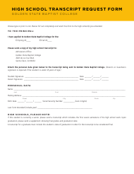 """High School Transcript Request Form - Golden State Baptist College"" - California"
