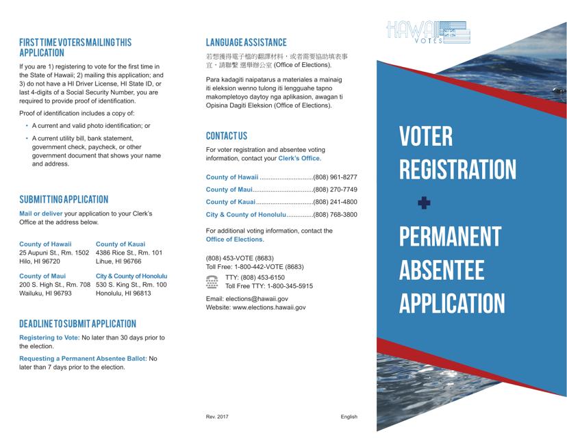 """Hawaii Voter Registration & Permanent Absentee Application"" - Hawaii Download Pdf"