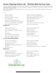 """House Cleaning Checklist Template - Wichita Maid Service Corp."""