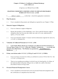 """Chapter 13 Debtor's Certificate to Obtain Discharge Pursuant to 11 U.s.c. 1328"" - Colorado"