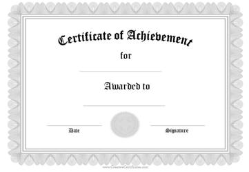 Silver Certificate of Achievement Template
