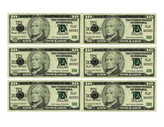 """""""Ten Dollar Bill Play Money Template"""""""