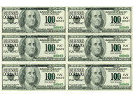 """One Hundred Dollar Bill Play Money Template"""