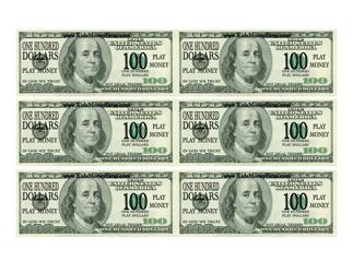 """One Hundred Dollar Bill Play Money Template"""