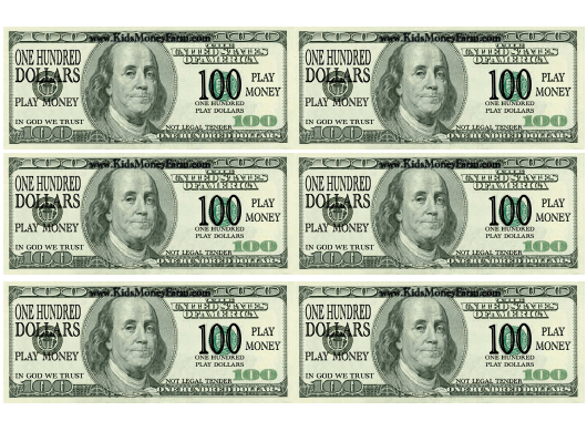"""""""One Hundred Dollar Bill Play Money Template"""" Download Pdf"""