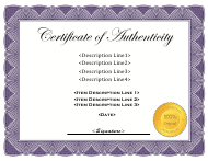 """Certificate of Authenticity Template"""