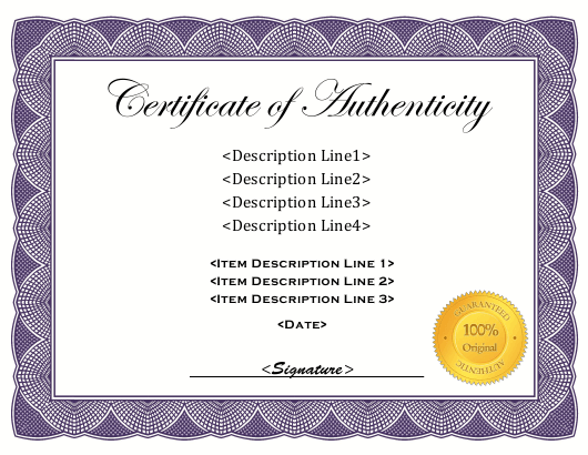 Certificate of Authenticity Template Download Pdf