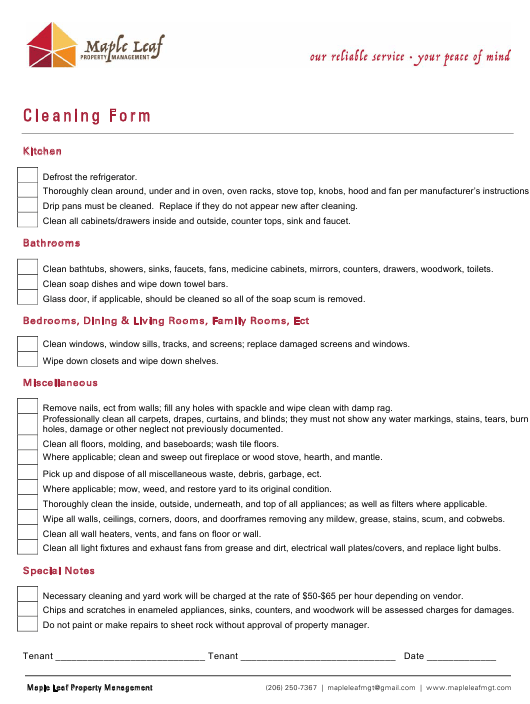 """Cleaning Form - Maple Leaf"" Download Pdf"