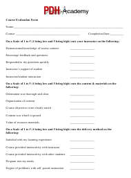 Course Evaluation Form - Pdh Academy