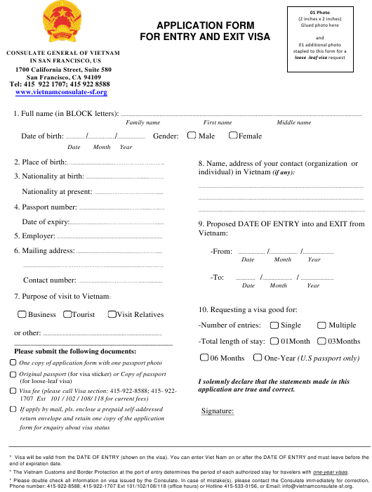 """Vietnamese Visa Application Form for Entry and Exit Visa - Consulate General of Vietnam"" - San Francisco, California Download Pdf"