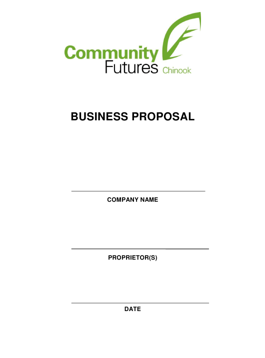 Business Proposal Template - Community Futures Chinook Download Pdf