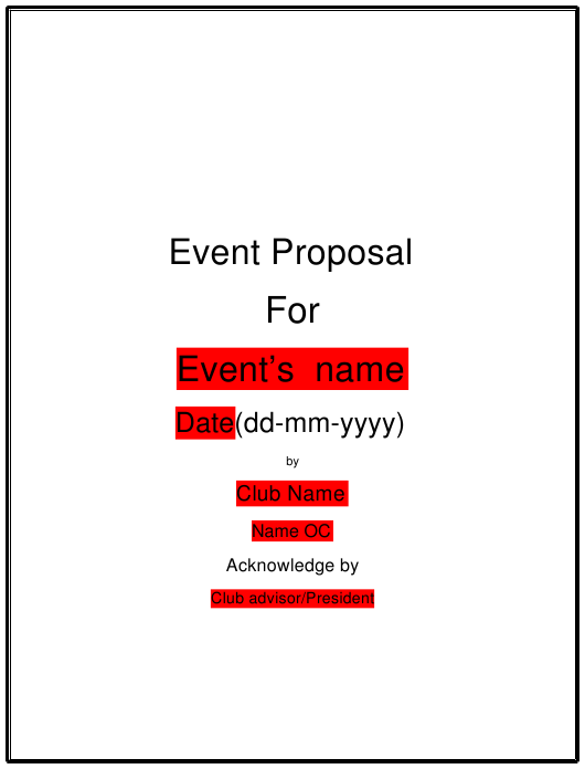 """Event Proposal Template"" Download Pdf"
