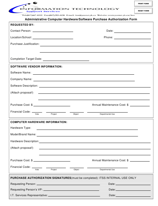 """Administrative Computer Hardware/Software Purchase Authorization Form - Information Technology"" Download Pdf"