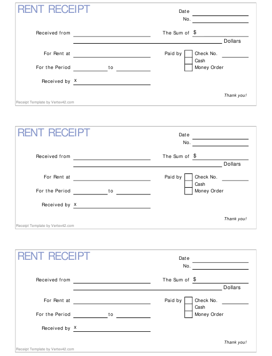 """Rent Receipt Template - Three Per Page"" Download Pdf"