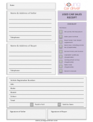 Used Car Sales Receipt Template - Young Car Driver - United Kingdom