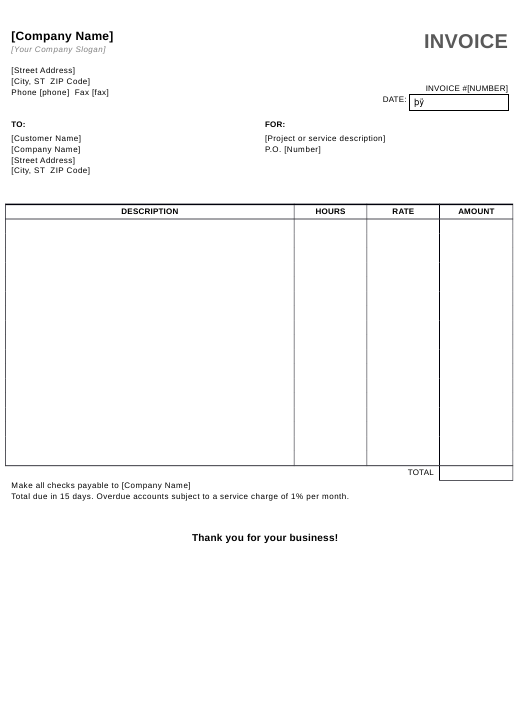 Service Invoice Template With Hours and Rate Download Pdf