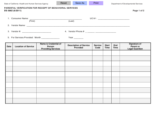 Form DS5862  Printable Pdf