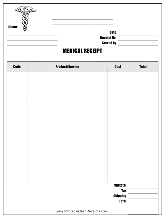 """Medical Receipt Template"" Download Pdf"