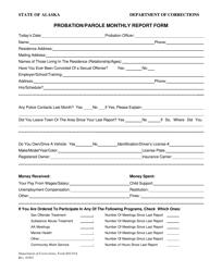 "Form 603.01A ""Probation/Parole Monthly Report Form"" - Alaska"