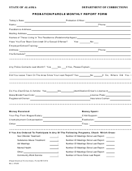 Form 603.01A Probation/Parole Monthly Report Form - Alaska