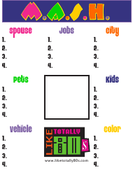 """""""M.a.s.h. Game Board Template"""""""