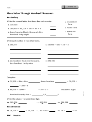 Place Value Through Hundred Thousands Worksheet With Answer Key - Exeter Township School District