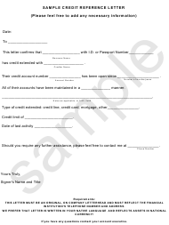 """""""Credit Reference Letter Template"""""""