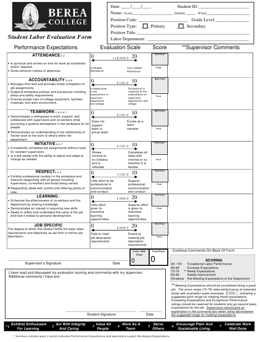 """Student Labor Evaluation Form - Berea College"" Download Pdf"
