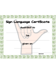 Sign Language Certificate Template