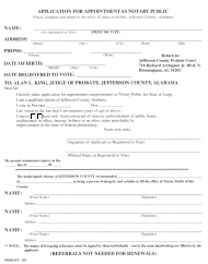"""""""Application Form for Appointment as Notary Public"""" - Jefferson county, Alabama"""