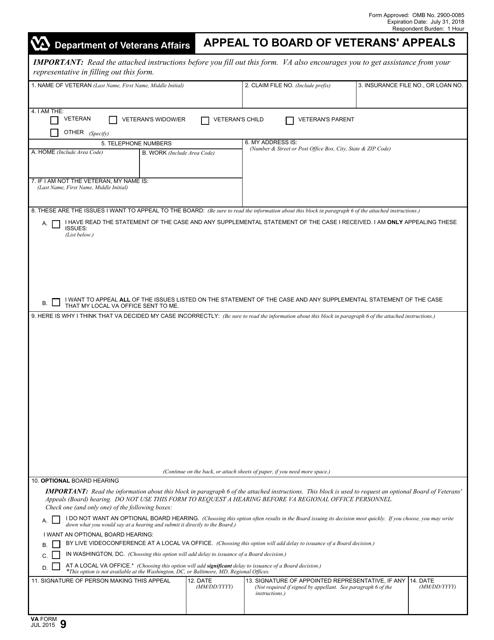 VA Form 9 Fillable Pdf