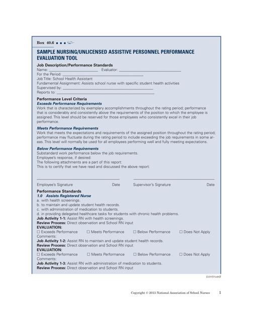 """""""Nursing/Unlicensed Assistive Personnel Performance Evaluation Form - National Association of School Nurses"""" Download Pdf"""