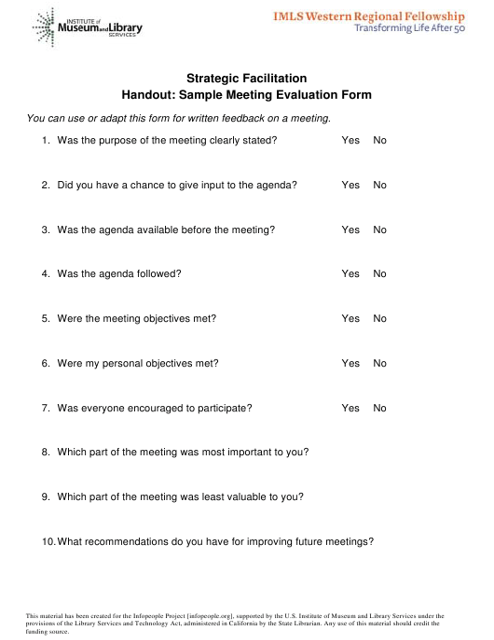 """Sample Meeting Evaluation Form"" Download Pdf"