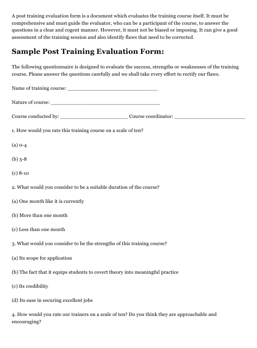 """Sample Post Training Evaluation Form"" Download Pdf"