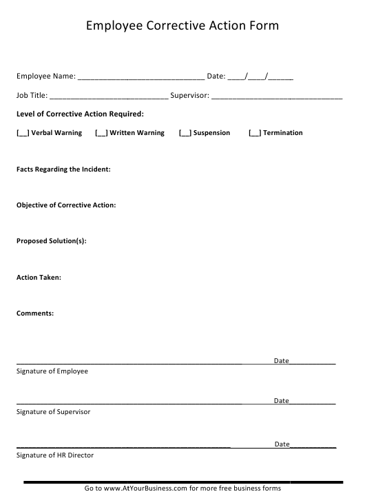 """""""Employee Corrective Action Form"""" Download Pdf"""