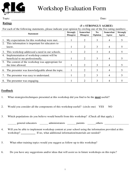 Workshop Evaluation Form - Alabama State Improvement Grant - Alabama Download Pdf