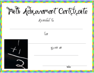 """Math Certificate of Achievement Template"""