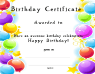 """Birthday Award Certificate Template"""