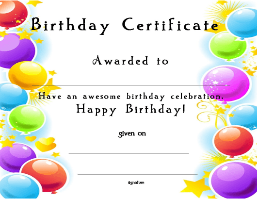 """Birthday Award Certificate Template"" Download Pdf"