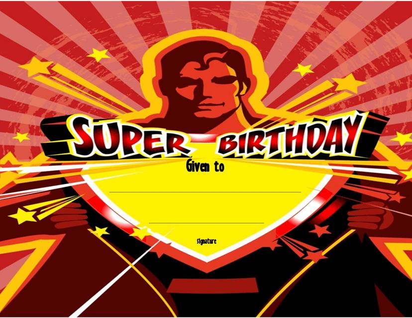 """Super Birthday Certificate Template"" Download Pdf"