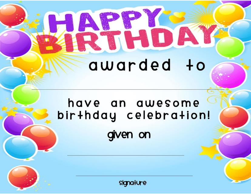 """Birthday Award Certificate Template"" Download Pdf"