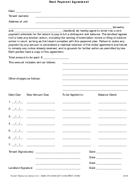 """""""Rent Payment Agreement Template - Tenant Resource Center"""""""
