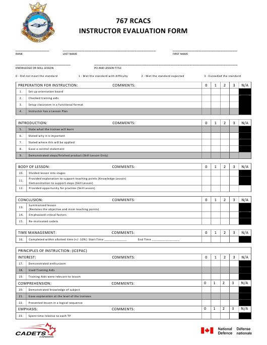 """""""767 Rcacs Instructor Evaluation Form"""" - Canada Download Pdf"""